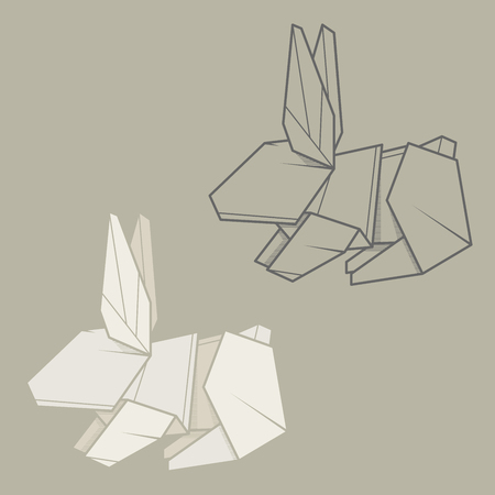 Set Vector Simple Illustration Paper Origami And Contour Drawing
