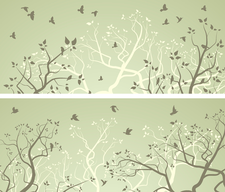 panoramic nature: Set of horizontal wide banners of stylized forest with tree branches and flock of birds.