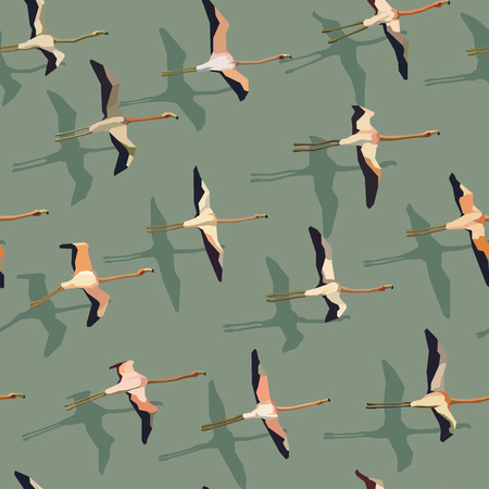 effortless: Vector seamless abstract background flock of flamingos with shadow.