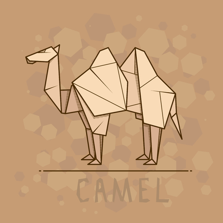 statuette: Vector simple illustration paper origami of camel.