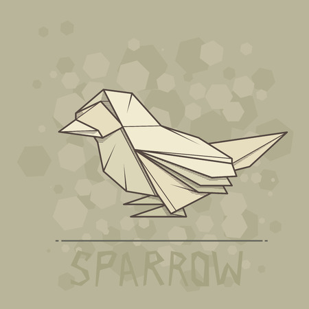 statuette: Vector simple illustration paper origami of sparrow.