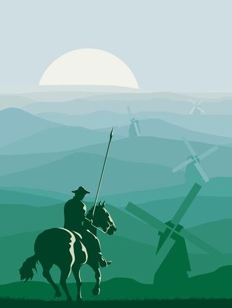 ilustración abstracta vertical de jinete (Don Quijote) con la lanza galopante delante de prados molinos de viento.