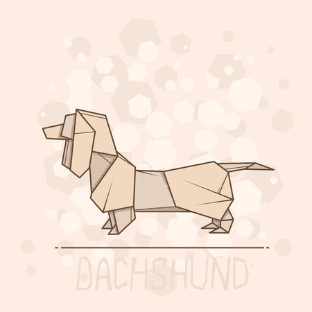 Cute Vector Simple Illustration Paper Origami Of Dachshund Royalty
