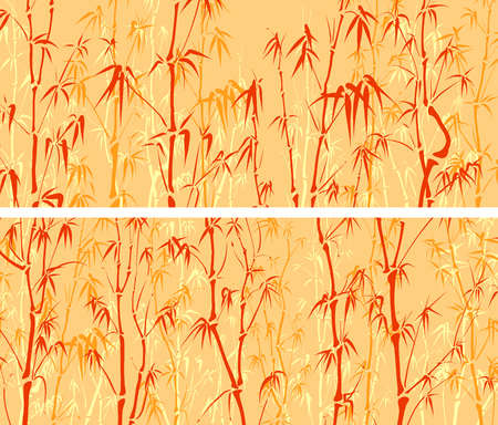 woody: Set of horizontal wide banners with many bamboos tree in orange tone.