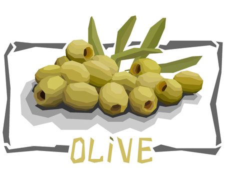 Vector simple illustration of olives with half in angular cartoon style.