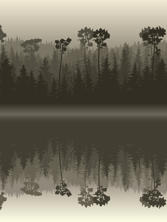 reflection in water: Vertical illustration twilight misty coniferous forest with its reflection in water.
