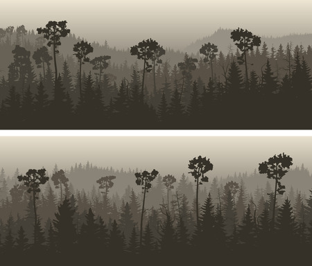 greenwood: Set of horizontal wide banners coniferous foggy forest in the hills in dark tones.