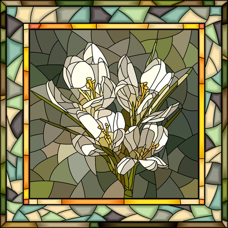 square frame: Vector mosaic of white crocus in square stained-glass window frame. Illustration