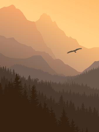 Vertical illustration of foggy coniferous forest hills at sunset. Векторная Иллюстрация