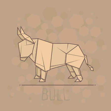 statuette: Vector simple illustration paper origami of bull.