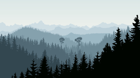 Horizontal illustration morning mist in coniferous forest hills with mountains.