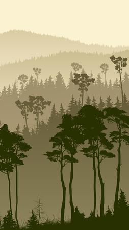 bosk: Vertical illustration of foggy coniferous forest hills.