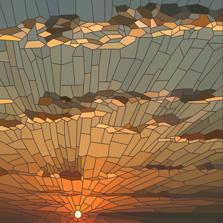 light ray: Vector illustration of sunset with clouds in stained glass window.