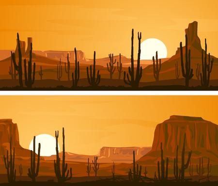 Set von horizontalen breiten Banner mit Prairie wilden Westen und Kakteen bei Sonnenuntergang. Standard-Bild - 76469559