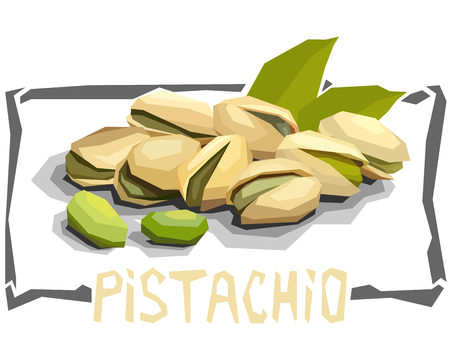 Vector simple illustration of pistachios with half in angular cartoon style.