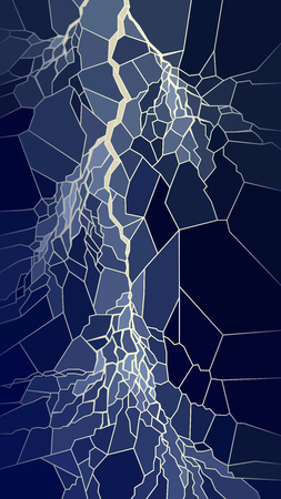 Vector vertical illustration of lightning in the night sky in stained glass window.