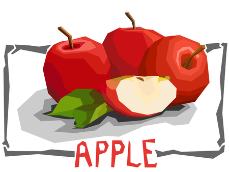 Vector simple illustration of apples in angular cartoon style.