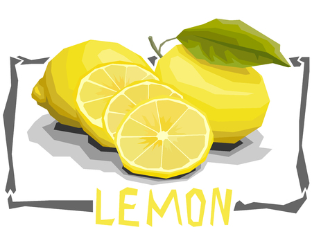 Vector simple illustration of lemons and slices in angular cartoon style.