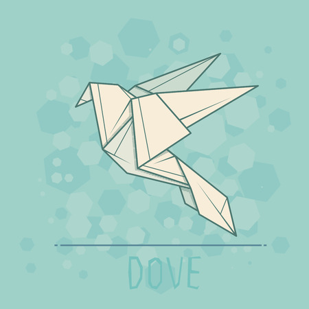 statuette: Vector simple illustration paper origami of dove.