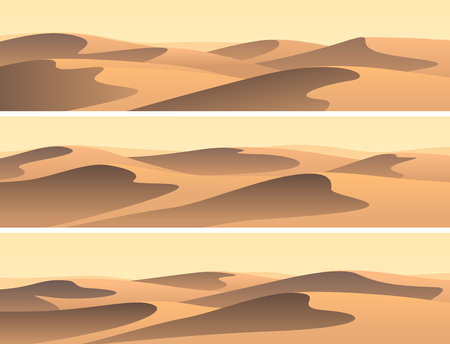 Set of horizontal banners sandy desert barchans.
