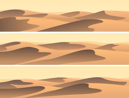 Set van horizontale banners zandige woestijnbarchans. Stock Illustratie