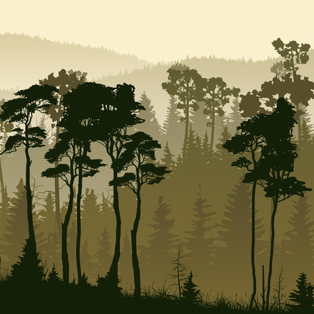 bosk: Square illustration of misty coniferous forest hills in green tone.