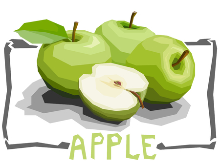 Vector simple illustration of green apples with half in angular cartoon style. Illustration