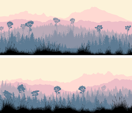 bosk: Set of horizontal wide banners coniferous forest with grass and hills in violet tones. Illustration