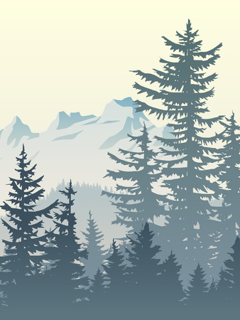 Vertical illustration of foggy coniferous trees and mountains.
