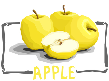 Vector simple illustration of yellow apples with half in angular cartoon style.