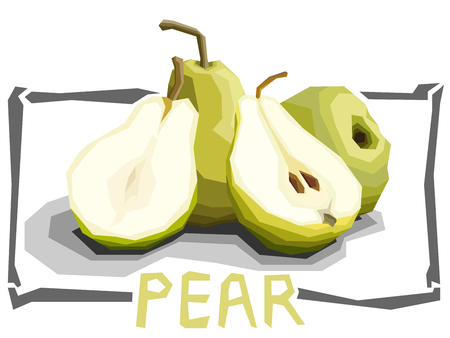 Vector simple illustration of green pears with half in angular cartoon style.