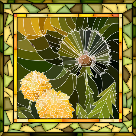 Vector abstract mosaic dandelion in square stained-glass window frame. Illustration