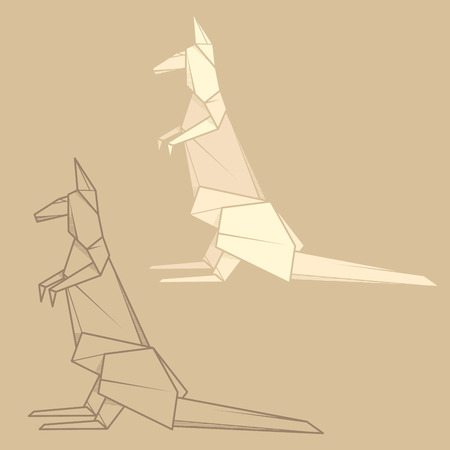 Set vector simple illustration paper origami and contour drawing of kangaroo.