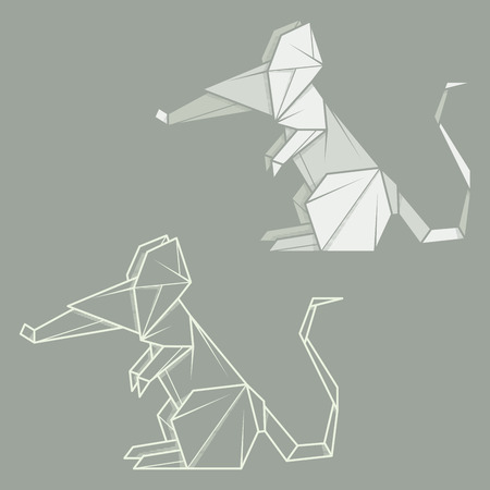 Set vector simple illustration paper origami and contour drawing of mouse.