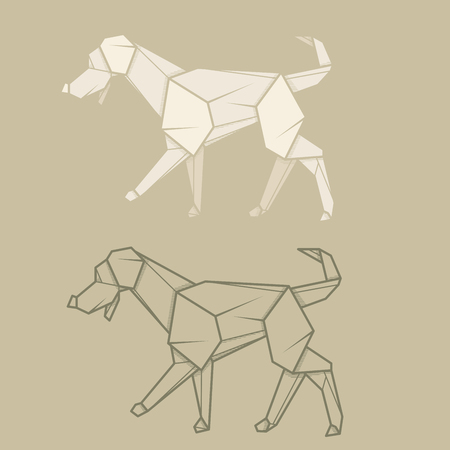 labrador: Set vector simple illustration paper origami and contour drawing of labrador.
