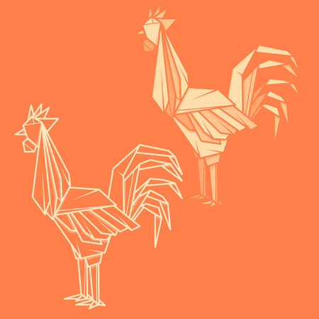 animal figurines: Set vector simple illustration paper origami and contour drawing of rooster.