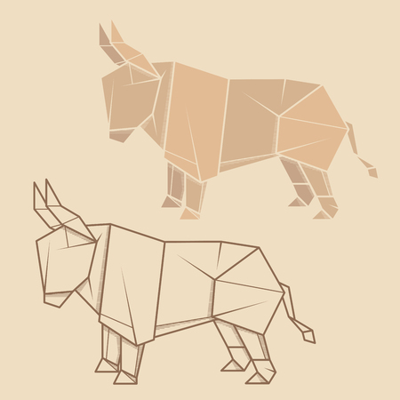 Set vector simple illustration paper origami and contour drawing of bull. Ilustrace