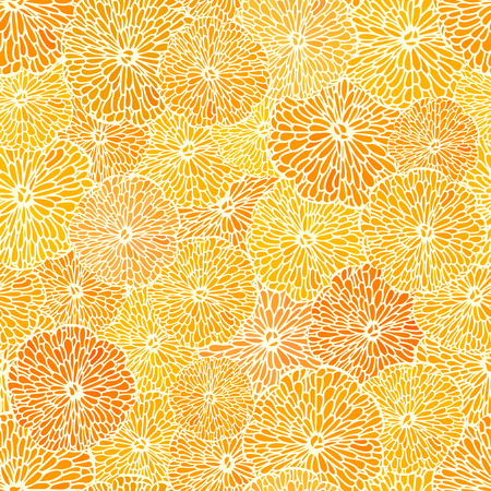 Abstract seamless background of cut across a lot of citrus fruits.