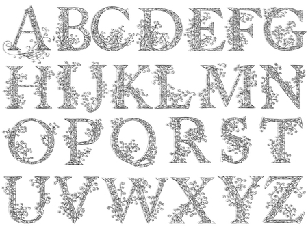 Set of fishnet (lace) font with capital letters. Illustration