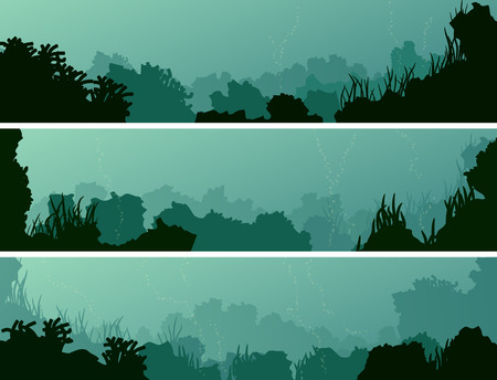 Set of horizontal banners of seabed with coral reefs and algae. 向量圖像