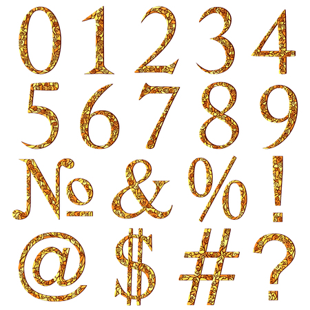 Set of yellow swirl mosaic font with numeric figures and additional signs. Illustration