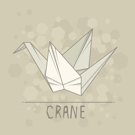 Simple illustration paper origami of crane. Иллюстрация