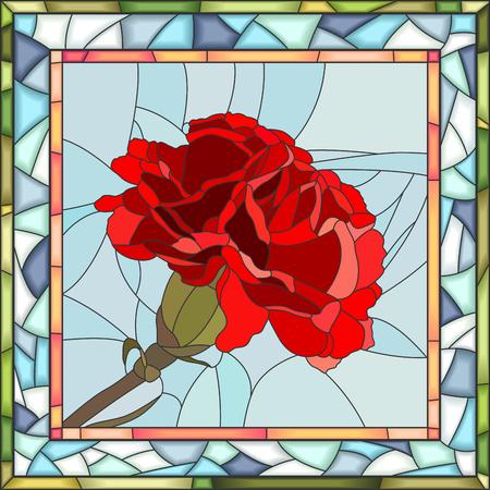 Vector il mosaico del garofano rosso sul blu nel telaio della finestra di vetro macchiato quadrato. Vettoriali