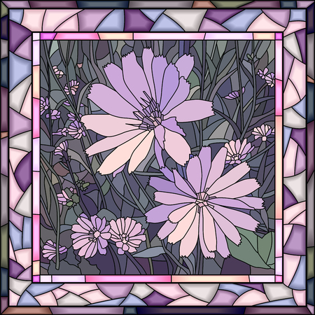 Vector mosaic of brightly purple chicory on green in square stained-glass window frame.
