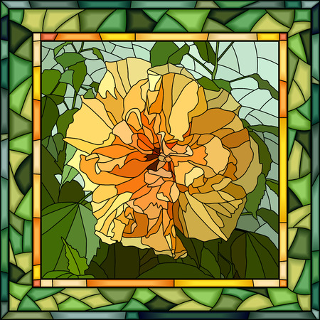 Vector mosaic of brightly yellow hibiscus (Chinese rose) on green in square stained-glass window frame.