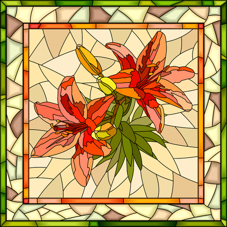 Vector mosaic of red lilies with buds on yellow in square stained-glass window frame. Illustration