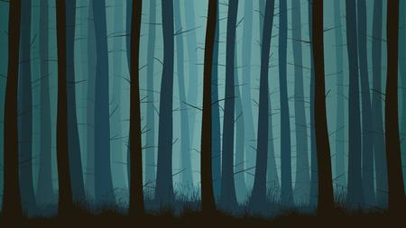 Vector horizontale illustratie binnen nevelig naaldbos met gras in blauwe toon. Stock Illustratie