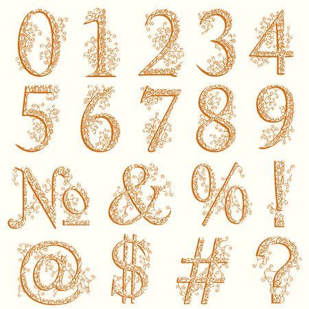 Set of fishnet (lace) font with numeric figures and additional signs.