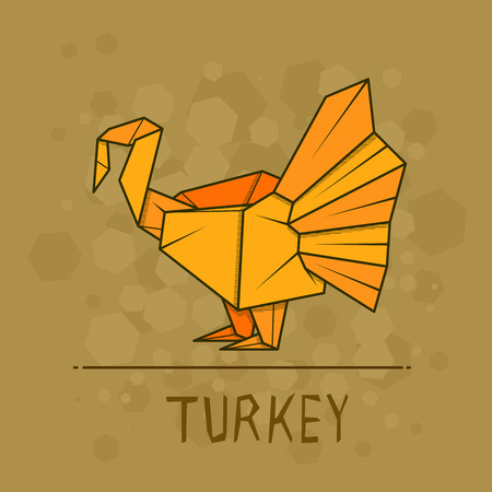 Vector simple illustration paper origami of turkey.