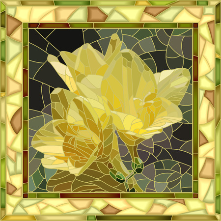 Vector mosaic of yellow irises in square stained-glass window frame.
